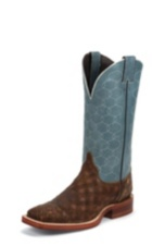 MEN'S BROWN BENT RAIL® BOOTS WITH DUSTY BLUE HONEYCOMB TOP