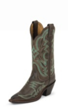 WOMEN'S DARK BROWN BENT RAIL® BOOTS WITH TURQUOISE PATTERNS