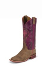 WOMEN'S BROWN BENT RAIL® BOOTS WITH PURPLE TOP