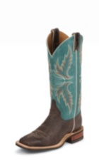 WOMEN'S BROWN BENT RAIL® BOOTS WITH TURQUOISE TOP