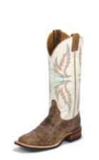 WOMEN'S DISTRESSED BROWN BENT RAIL® BOOTS WITH WHITE TOP