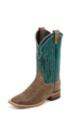 WOMEN'S BROWN BENT RAIL® BOOTS WITH TURQUOISE PATTERN TOP