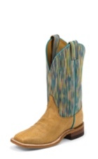 WOMEN'S LIGHT BROWN BENT RAIL® BOOTS WITH BLUE-GOLD PATTERN TOP