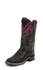 WOMEN'S BLACK BENT RAIL® BOOTS WITH DISTRESSED BLACK & PINK TOP