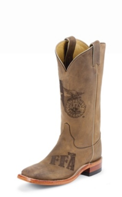 WOMEN'S TAN DISTRESSED COWHIDE FFA BOOTS