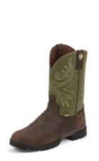 MEN'S BROWN GEORGE STRAIT WATERPROOF BOOTS WITH SAGE GREEN TOP