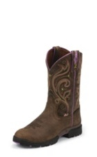 WOMEN'S BROWN GEORGE STRAIT WATERPROOF BOOTS WITH PURPLE ACCENTS