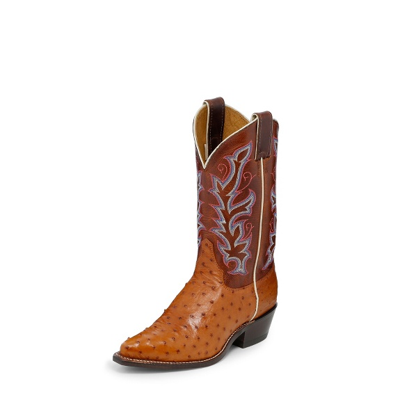 Justin Boots J3229 Cognac Full Quill Ostrich
