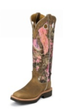 WOMEN'S TAN SNAKE BOOTS WITH PINK CAMOUFLAGE TOP