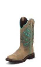WOMEN'S SAND GYPSY BOOTS WITH TURQUOISE PATTERN TOP