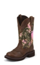 WOMEN'S BROWN GYPSY BOOTS WITH PINK CAMO-LIKE TOP
