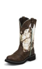 WOMEN'S BROWN GYPSY BOOTS WITH WHITE CAMO-LIKE TOP