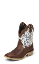 WOMEN'S BROWN GYPSY BOOTS WITH WHITE PATTERN TOP