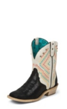 WOMEN'S BLACK GYPSY BOOTS WITH WHITE PATTERN TOP