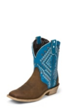WOMEN'S BROWN GYPSY BOOTS WITH BLUE TOP