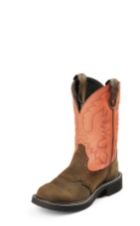 WOMEN'S BROWN GYPSY BOOTS WITH ORANGE TOP