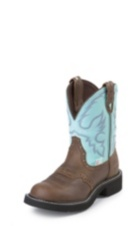 WOMEN'S BROWN GYPSY WATERPROOF BOOTS WITH LIGHT BLUE TOP