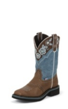 WOMEN'S BROWN GYPSY BOOTS WITH DUSTY BLUE TOP