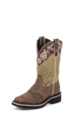 WOMEN'S BROWN GYPSY BOOTS WITH TAN PATTERN TOP