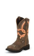 WOMEN'S BROWN GYPSY BOOTS WITH ORANGE STRIPE TOP