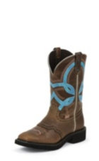 WOMEN'S BROWN GYPSY BOOTS WITH BLUE STRIPE TOP
