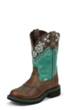 WOMEN'S BROWN GYPSY BOOTS WITH TURQUOISE PATTERN TOP