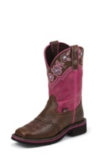 WOMEN'S BROWN GYPSY BOOTS WITH MAGENTA PATTERN TOP