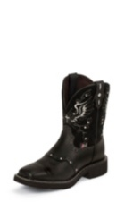 WOMEN'S BLACK GYPSY BOOTS WITH BLACK PATTERN TOP