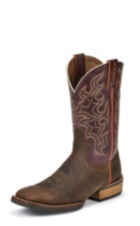 MEN'S BROWN SILVER COLLECTION BOOTS WITH DARK PURPLE TOP