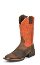 MEN'S BROWN SILVER COLLECTION BOOTS WITH ORANGE TOP