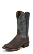 MEN'S BURNISHED SILVER COLLECTION BOOTS WITH BLUE TOP