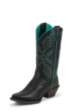 WOMEN'S BLACK SILVER COLLECTION BOOTS WITH TURQUOISE ACCENTS