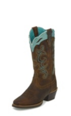 WOMEN'S TAN SILVER COLLECTION BOOTS WITH TURQUOISE ACCENTS