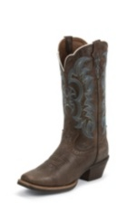 WOMEN'S BROWN SILVER COLLECTION BOOTS WITH TURQUOISE ACCENTS