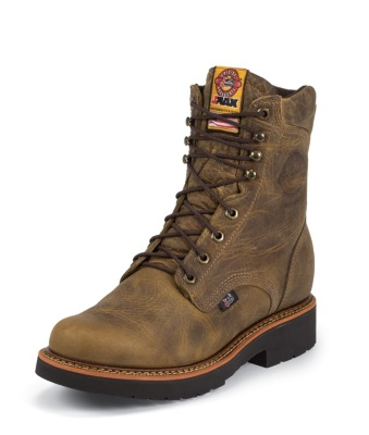 MEN'S RUGGED TAN GAUCHO J-MAX® LACE UP STEEL TOE WORK BOOTS