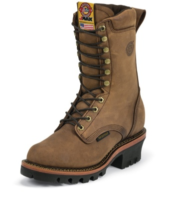MEN'S RUGGED AGED BARK GAUCHO J-MAX® WATERPROOF LOGGER WORK BOOTS