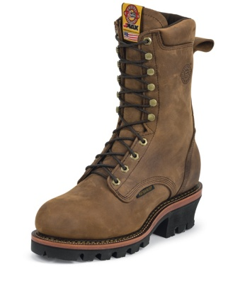 MEN'S RUGGED AGED BARK GAUCHO J-MAX® WATERPROOF LOGGER STEEL TOE WORK BOOTS