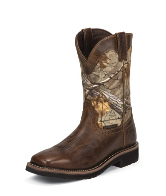 MEN'S RUGGED TAN COWHIDE STAMPEDE WATERPROOF WORK BOOTS