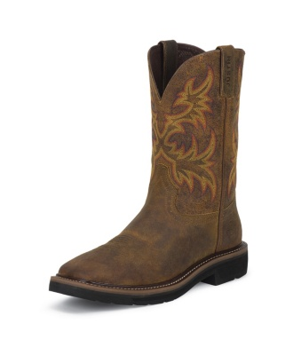 MEN'S RUGGED TAN COWHIDE STAMPEDE WORK BOOTS