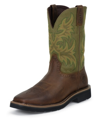 MEN'S WAXY BROWN COWHIDE STAMPEDE WORK BOOTS