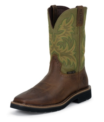 MEN'S WAXY BROWN COWHIDE STAMPEDE STEEL TOE WORK BOOTS