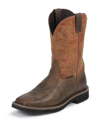 MEN'S RUGGED TAN STAMPEDE COMPOSITION TOE WORK BOOTS