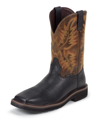 MEN'S BLACK OILED STAMPEDE COMPOSITION TOE WORK BOOTS