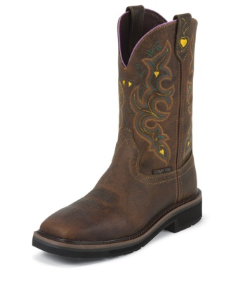WOMEN'S RUGGED TAN STAMPEDE COMPOSITION TOE WORK BOOTS