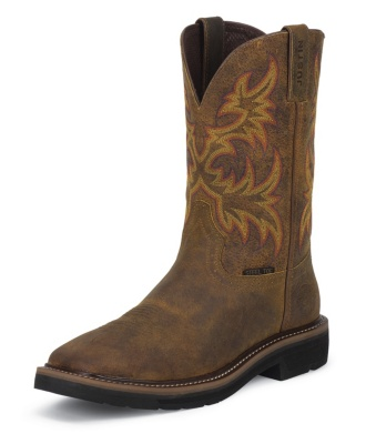 WOMEN'S RUGGED TAN COWHIDE STAMPEDE STEEL TOE WORK BOOTS
