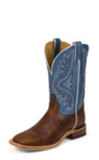 MEN'S PECAN BISON AMERICANA WESTERN BOOTS WITH BLUE TOPS