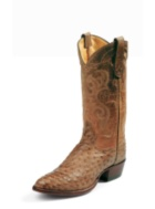 MEN'S ANTIQUE TAN VINTAGE EXOTICS FULL QUILL OSTRICH WESTERN BOOTS