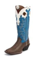 MEN'S WALNUT ELEPHANT GRAIN 3R™ WESTERN BOOTS WITH BLUE AND WHITE TOPS