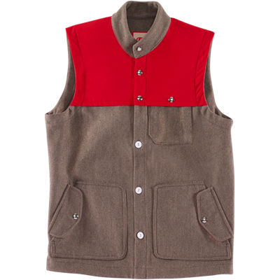 Freeman Commodore Vest - Heather Brown/Red