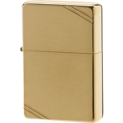 Zippo Vintage Brushed Brass Lighter with Slashes